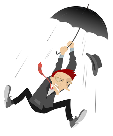 Windy day. Man caught up by the wind flies up holding umbrella