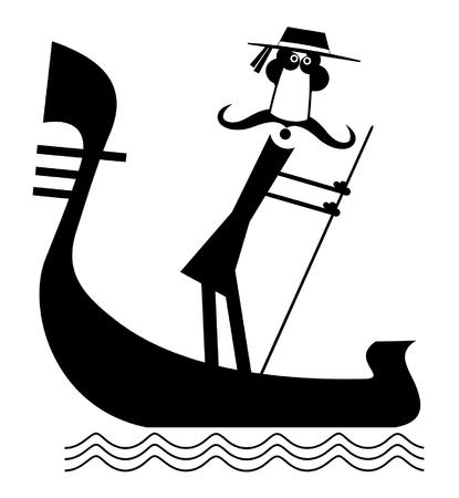 Funny gondolier with long mustaches rides on gondola Illustration