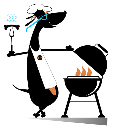 Barbecue and dog isolated. Comic dog frying sausages and steaks on the grill