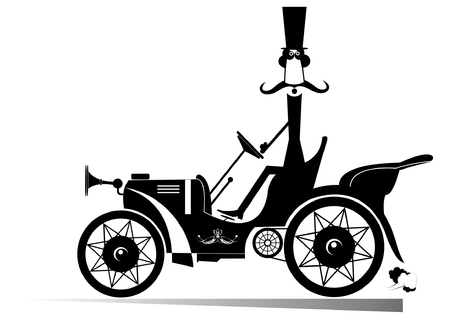 stovepipe hat: Man in the top hat drives a retro car Illustration