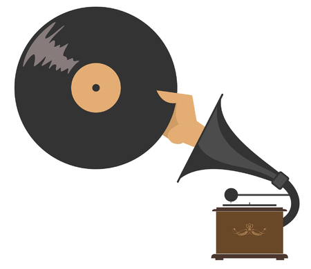 Record player, hand and record isolated. Hand holding a record appears from the loudhailer of the record player