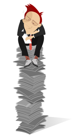 proposition: Tiredness man sits on the high pile of documents Illustration