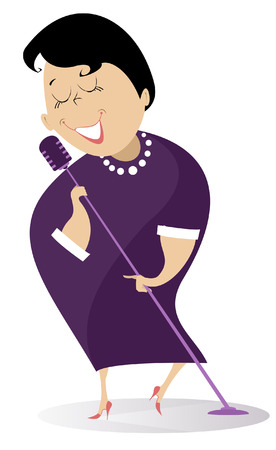 Romantic singer woman isolated. Cartoon woman sings a song with inspiration
