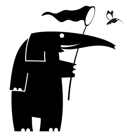 Cartoon elephant trying to catch a bird using butterfly net Illustration