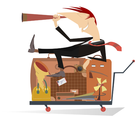 Travelling man. Smiling man lying on luggage looking into the binoculars and exploring new ways to travel Illustration