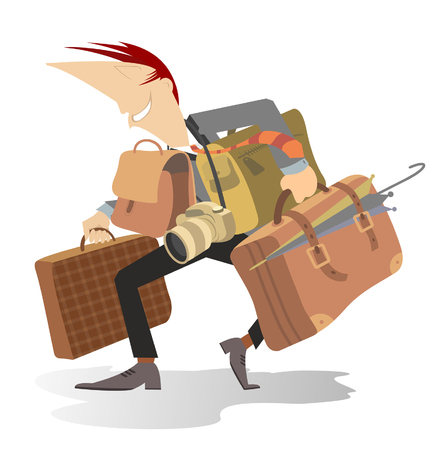 Man with a big luggage is going to go to a business trip or a travel Illustration