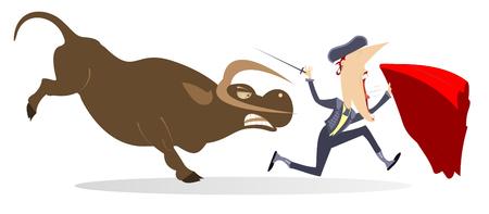 Torero et taureau en colère isolé. Le torero effrayé avec l'épée et la cape s'enfuit du taureau en colère
