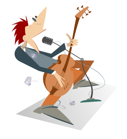 Let be where rock. Cartoon man is playing guitar isolated. Guitarist is playing music and singing with the great inspiration