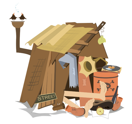 Hut of the beggar isolated