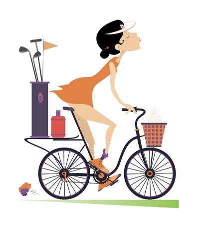 teen golf: Sonriente joven monta la bicicleta y va a jugar al golf aislado. Sonriente joven en la bicicleta está en el camino hacia el campo de golf