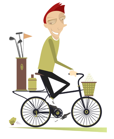 original bike: Smiling man rides the bike and goes to play golf isolated
