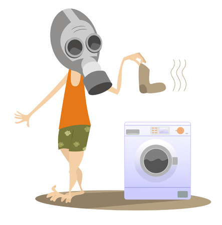 Dirty laundry, man in the gas mask and washing machine isolated. Man in the gas mask holds a dirty sock and going to wash it in the washing machine Vektorové ilustrace