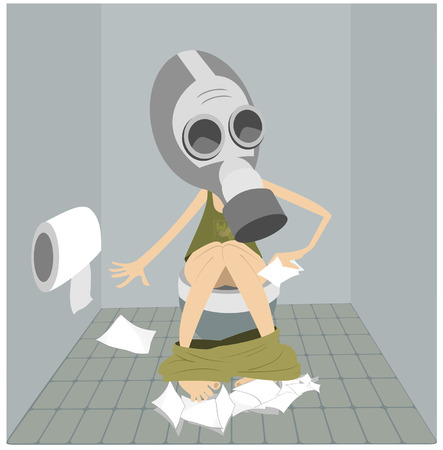 Man or a woman with diarrhea (food poisoning) sitting in the toilet.  Man or a woman in the gas mask sitting in the toilet and using a lot of tissue Çizim
