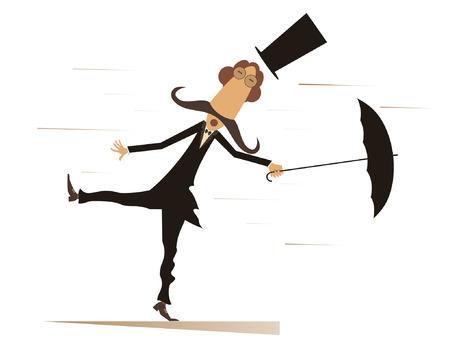 漫画男、傘と分離した風の強い日。シルクハットに面白い口ひげの男風の上に立って、傘を維持しようと