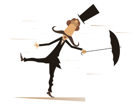 stovepipe hat: Cartoon man, umbrella and windy day isolated. Funny mustache man in the top hat stands on the wind and tries to keep an umbrella