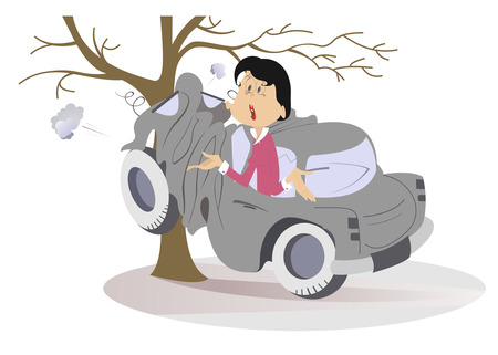 Cartoon young woman have got into a road accident. Astonished woman in the car crashed into the tree