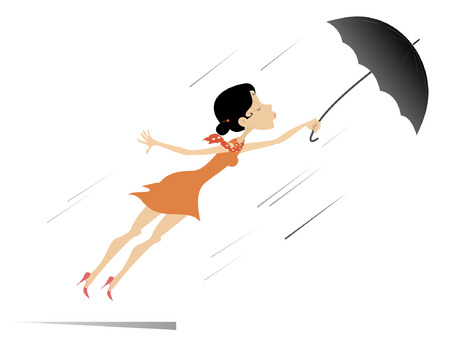 Young woman, umbrella and windy day isolated. Young woman being gone with the wind trying to hold an umbrella