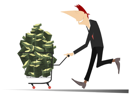 Successful business. Successful businessman is pushing a trolley full of money isolated Illustration