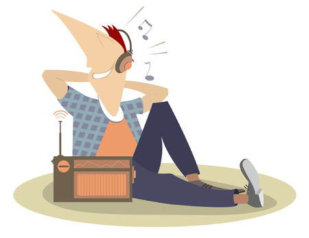 fm: Listening the radio man isolated. Smiling man sits on the floor and listens the radio in headphones Illustration