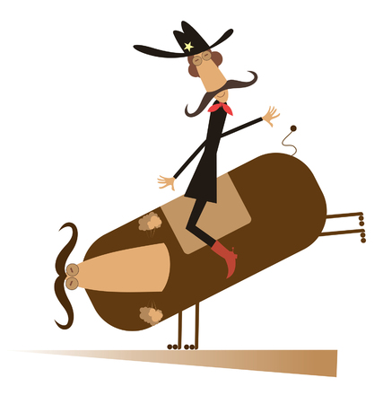 Rodeo, man and bull isolated.  Man or cowboy with long mustache is riding on the bull isolated Illustration