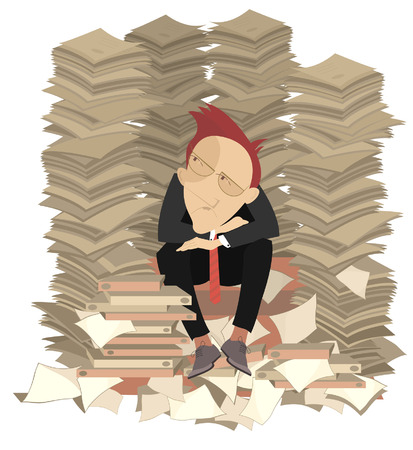 Too much documents and businessman illustration. Pensive businessman surrounded by piles of documents.