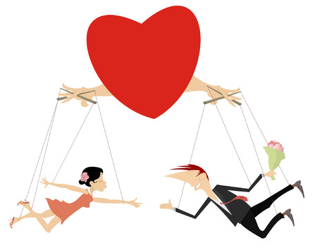 Love couples concept illustration isolated. Heart manipulates with couple of lovers looking like puppets.