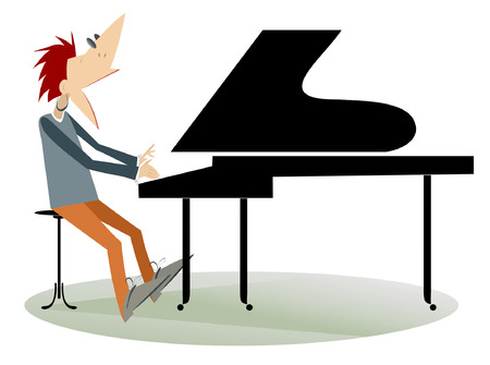 rockabilly: Pianist man isolated.Pianist is playing music and singing with inspiration.