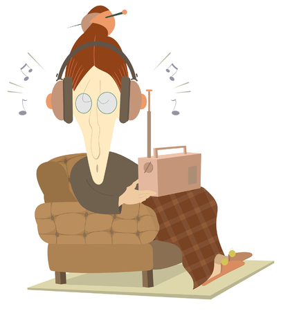 fm radio: Listening the radio old woman isolated. Old woman sits in an armchair and listens the radio. Illustration