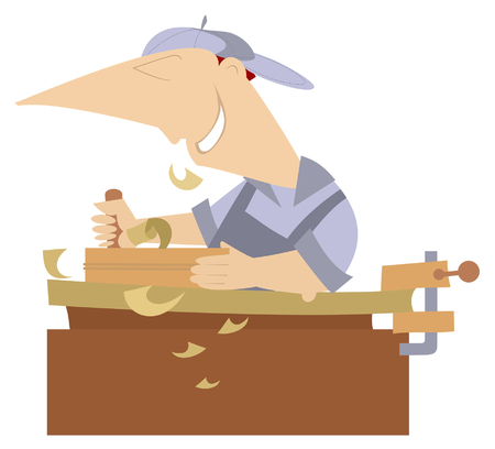 Cartoon jonge snijder geïsoleerd. Vrolijke timmerman werkt bij een schrijnwerkwinkel