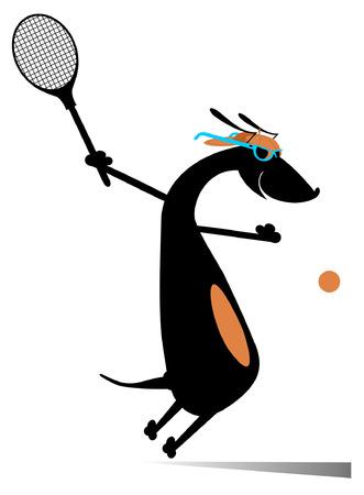 Perro jugando tenis aislado. Dachshund de la historieta un jugador de tenis