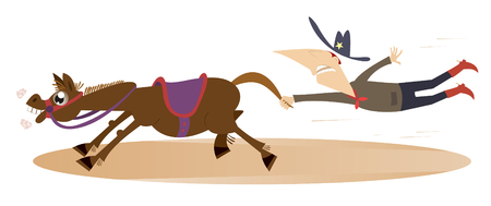 Cartoon rodeo illustration. Man or cowboy catches a running horse by horsetail Illustration
