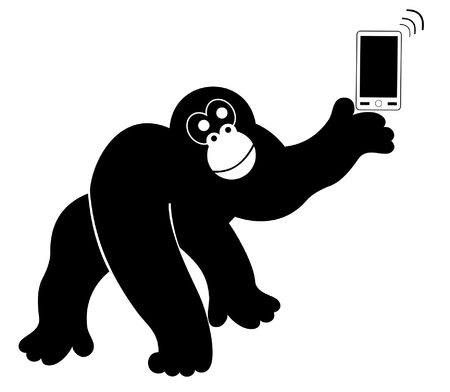 Monkey with smart phone isolated.  Monkey with smart phone silhouette