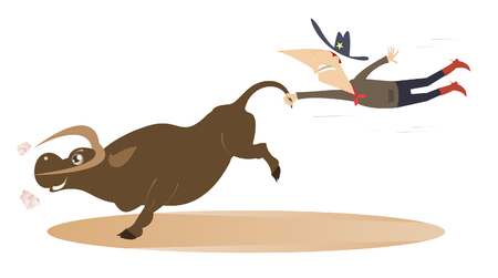 Cartoon rodeo illustration with cowboy and bull. Man or cowboy catches a running bull by tail