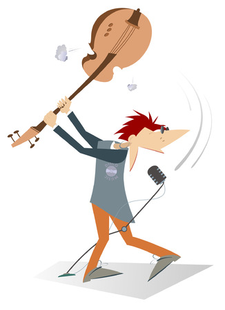 Cartoon guitarist is playing music and singing isolated. Cartoon guitarist brandishes guitar under the head and sings with great inspiration