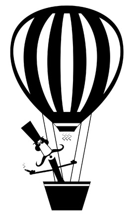 Cartoon mustache man with cigar flies on the air balloon isolated. Cartoon mustache man in the top hat flies on the air balloon and smokes cigar