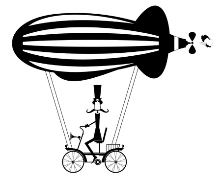Mustache man in the top hat flies on the airship isolated. Cartoon mustache man in the top hat sitting on the bike flies on the airship