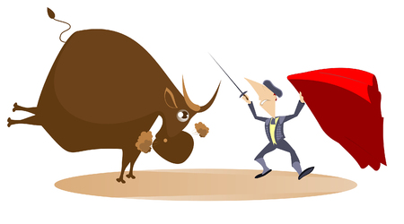 Bullfighter with a sword and the bull illustration. Bullfighter and a bull isolated Illustration
