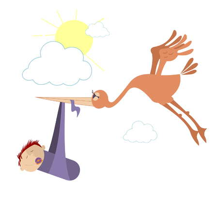 Flying bird holds a baby in the beak. Baby was brought by a stork concept illustration Illustration