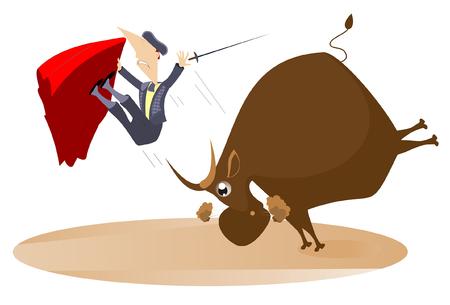 Bullfighter and the rage bull isolated. Bull raised the bullfighter by horns illustration Illustration