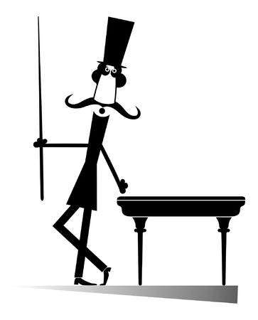 Mustache man in the top hat playing a pool isolated. Mustache gentleman in the top hat playing a pool black on white illustration