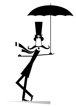 Mustache man in the top hat with umbrella isolated. Mustache man in the top hat with umbrella staying on the wind Illustration