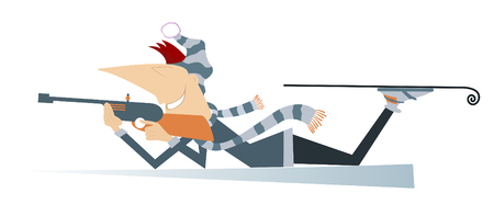 Shooting biathlon competitor isolated. Shooting in the lying position biathlon competitor cartoon illustration