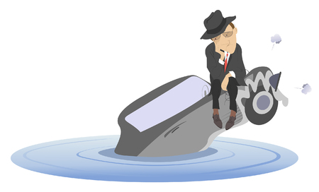 Flood, man and sinking car isolated. Upset man sitting on the sinking car Фото со стока - 89959596