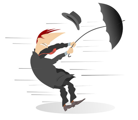 Windy day and man with umbrella isolated. Man tries to hold an umbrella and a hat gone with the wind