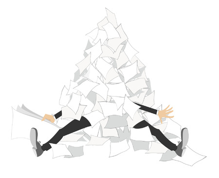 Businessman and a pile of papers isolated. Hands and legs of the man appear from a big pile of documents