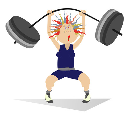 Cartoon woman weightlifter isolated. Cartoon strong woman is trying to lift a heavy weight Illustration