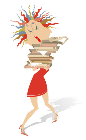 Young woman hardly holds a lot of books or documents isolated.  Anxious young woman holds a lot of books or documents she needs to read
