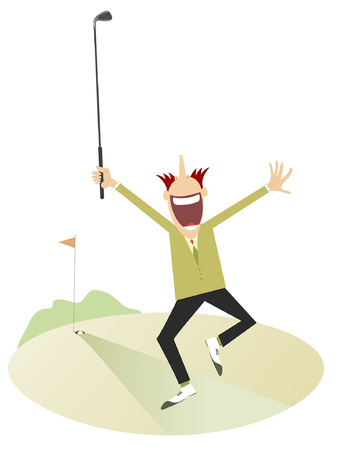 Happy golfer on the golf course isolated. Running young man with hands up glad to aiming a ball to the hole Illustration