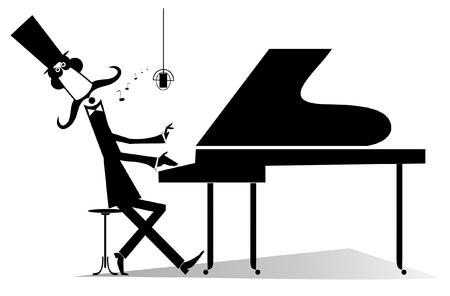 Oryginalna sylwetka pianisty na białym tle. Pan z wąsami w cylindrze gra muzykę na pianinie i śpiewa