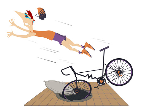 Cyclist falling down from the bicycle